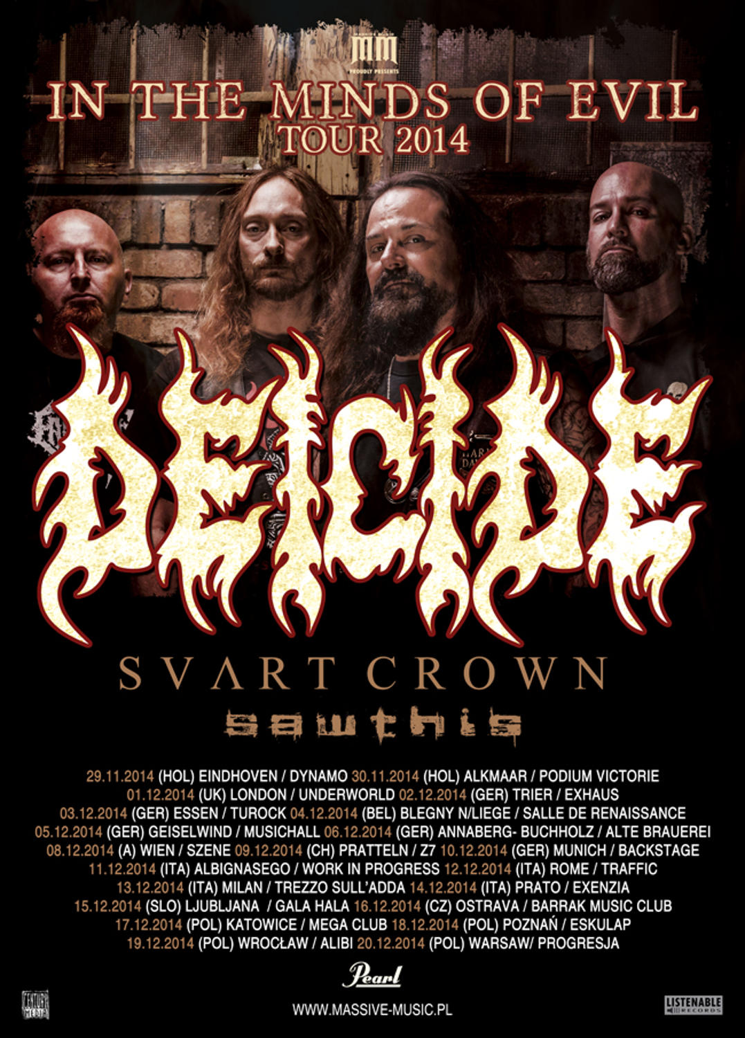 Deicide poster 2014 new online with dates