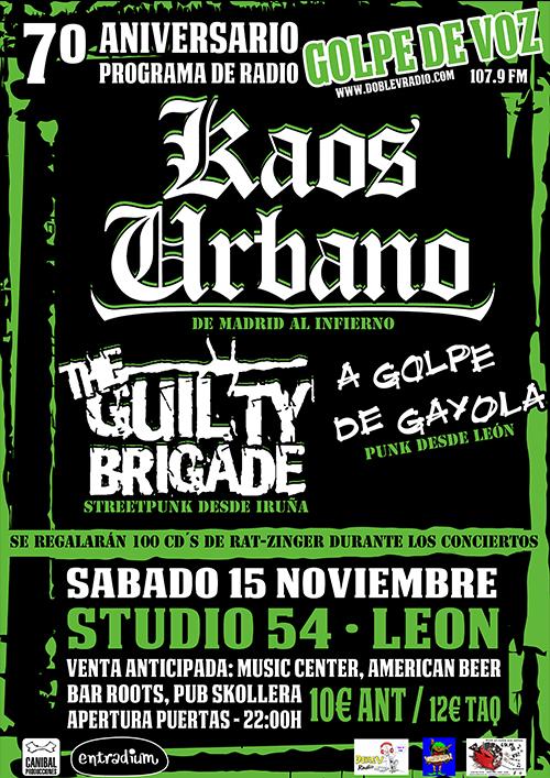 Cambio cartel Kaos Urbanbo + The Guilty Brigade + AGDG (medios)