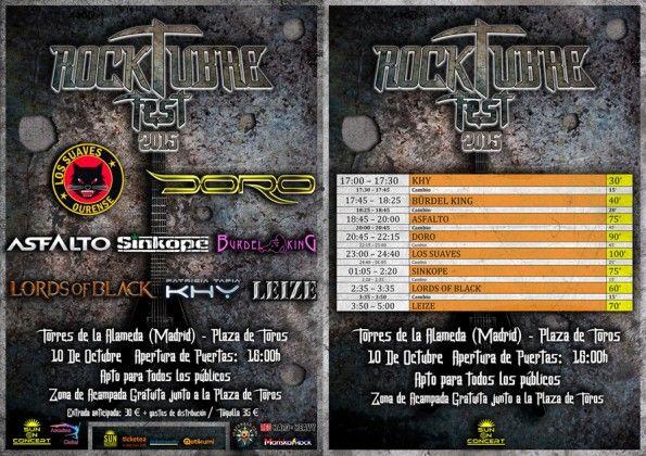 Rocktubre Fest Cartel y Horarios junto
