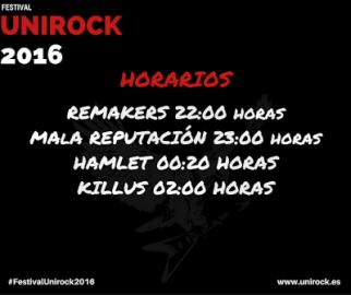 Unirock 2016 horarios