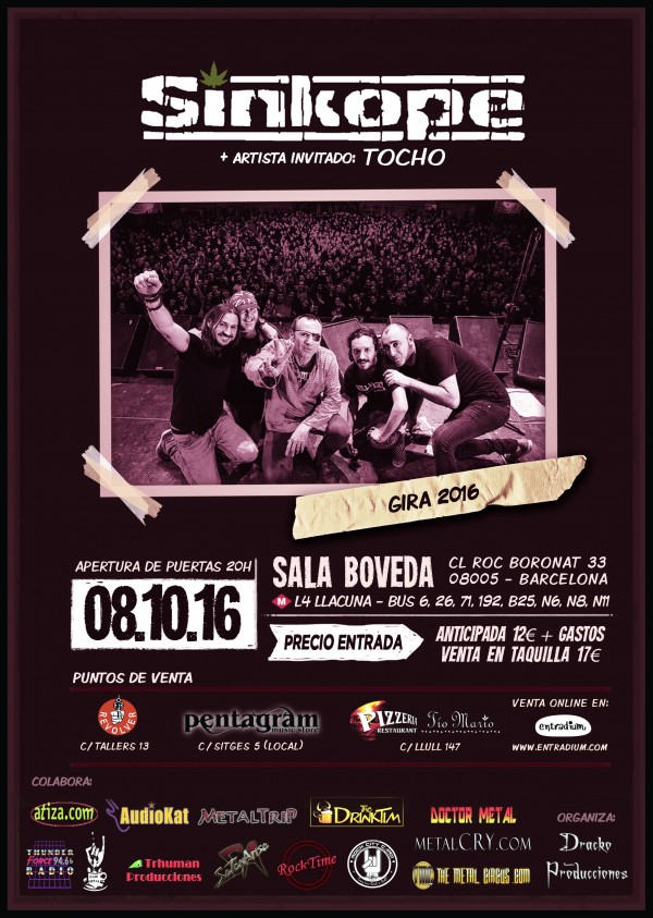 CARTEL SINKOPE + TOCHO  BOVEDA   08-10-2016