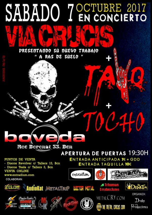 CARTEL VIA CRUCIS + TAYO + TOCHO  SALA BOVEDA  07-10-2017